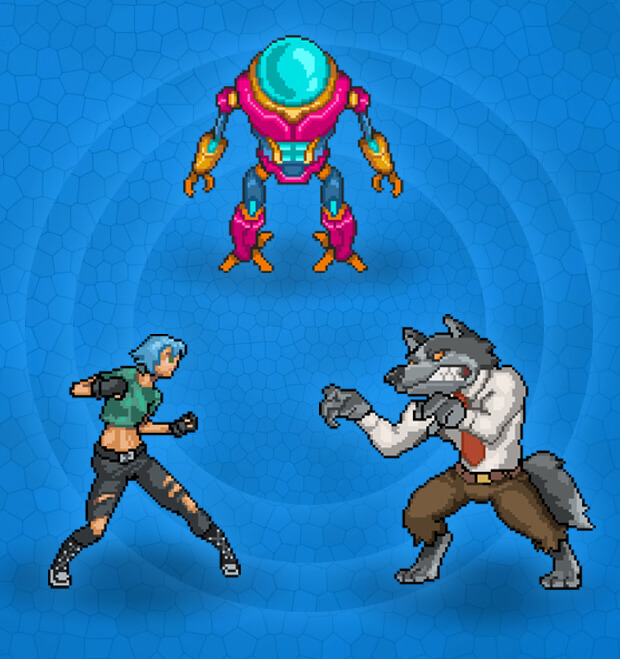 Fox, Robot and Girl character